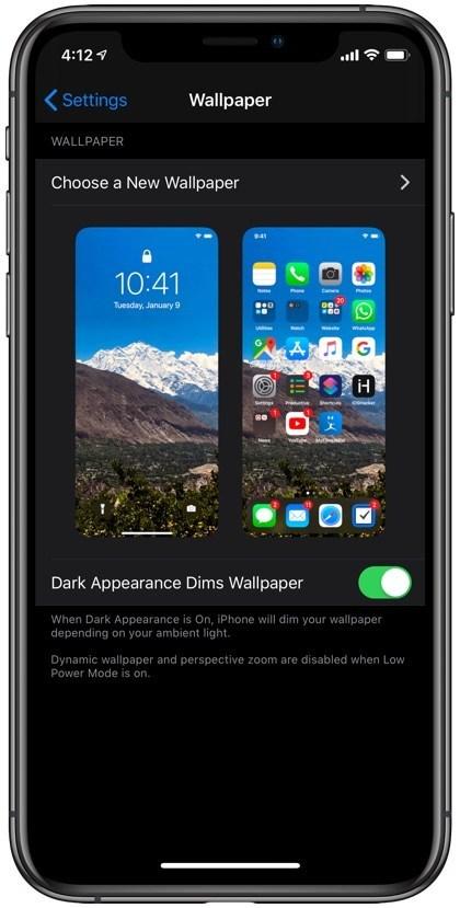 """Duvar Kağıdı iOS 13'te Karanlık Görünüyor? İşte Nasıl Yapılır 1 """"width ="""" 420 """"yükseklik ="""" 829 """"data-recalc-dims ="""" 1"""