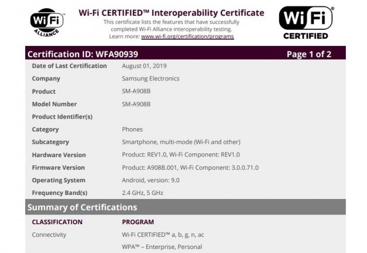 Samsung Galaxy WiFi İttifakı'nda A90 5G beliriyor ve yakında başlatılabileceğini gösteriyor 2
