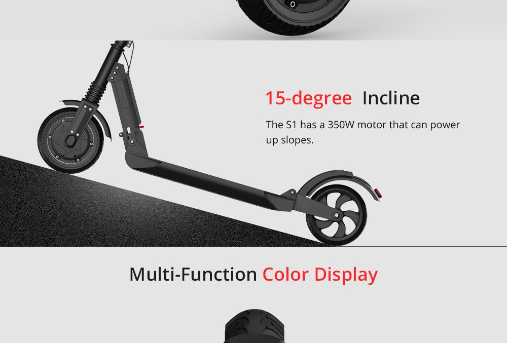 KUGOO S1 Katlanır Elektrikli Scooter 350 W Motor LCD Ekran 3 Hız Modları 8.5 Inç Katı Arka Kaymaz Lastik IP54 Su Geçirmez - Siyah