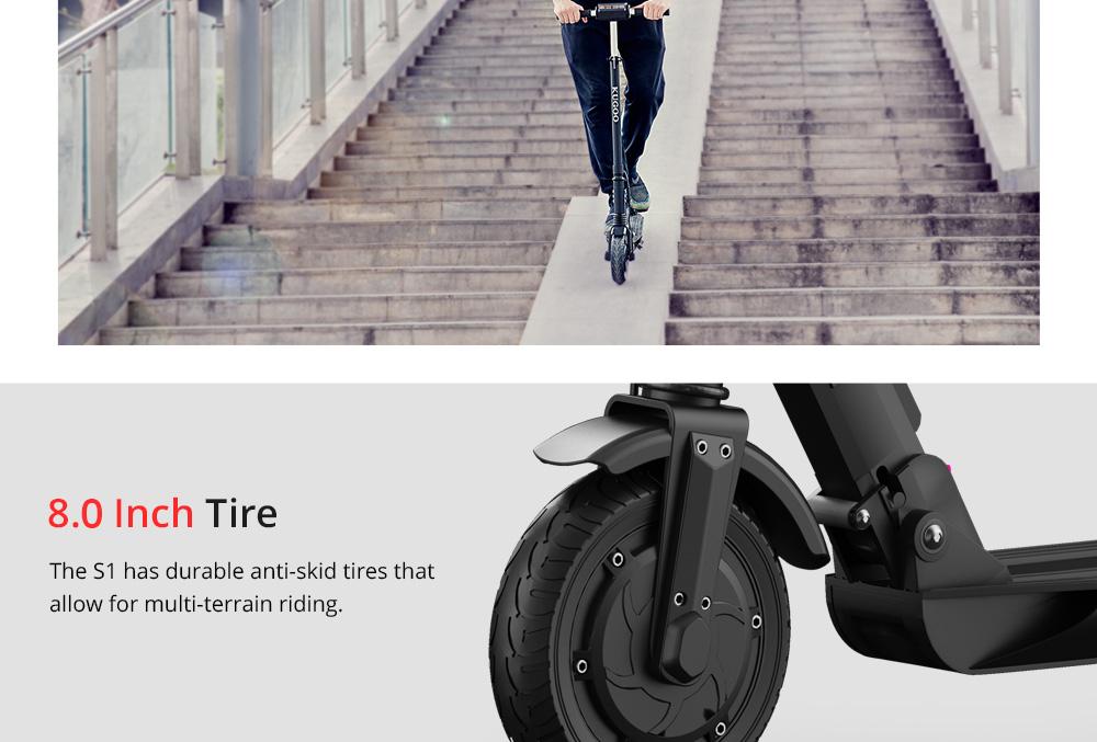 KUGOO S1 Katlanır Elektrikli Scooter 350 W Motor LCD Ekran 3 Hız Modları 8.0 Inç Katı Arka Kaymaz Lastik IP54 Su Geçirmez - Siyah