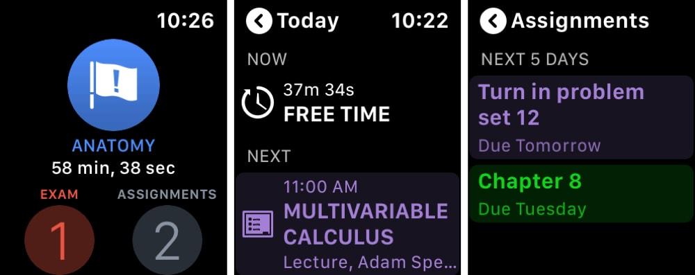 iStudiez Pro Efsanevi Planlayıcısı Apple Watch