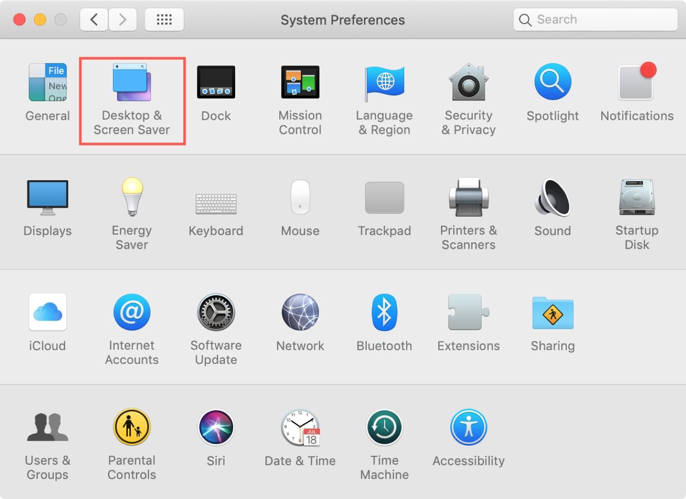 Mac Sistem Tercihleri Masaüstü Ekran Koruyucusu