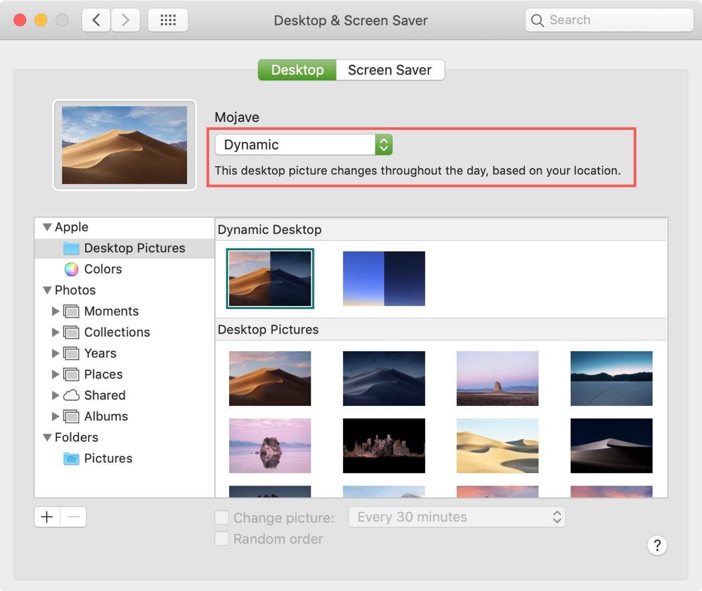 Mac Sistem Tercihleri Dinamik Masaüstü
