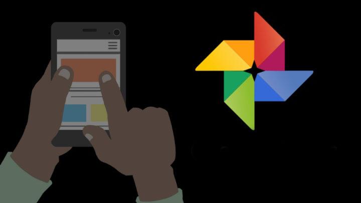 Siyah arka plan ile Google Foto logo