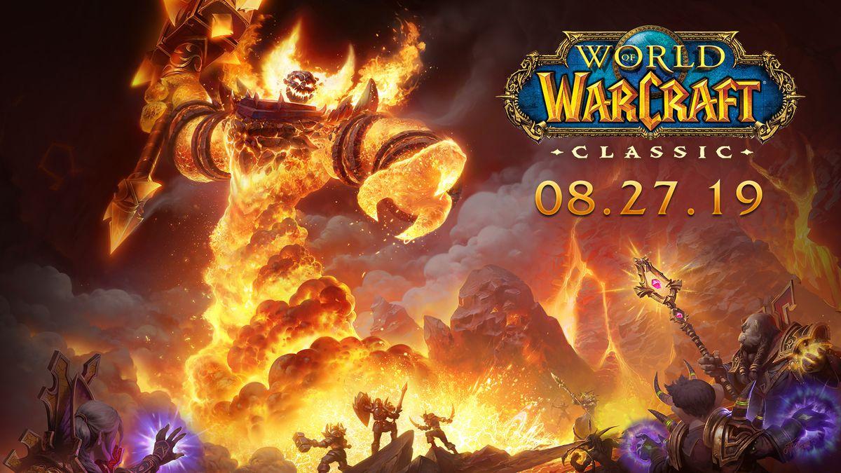 World of Warcraft - klasik sürüm için anahtar sanat. Oyuncular, Molten Core'da Ragnaros ile mücadele olarak tasvir ediliyor.