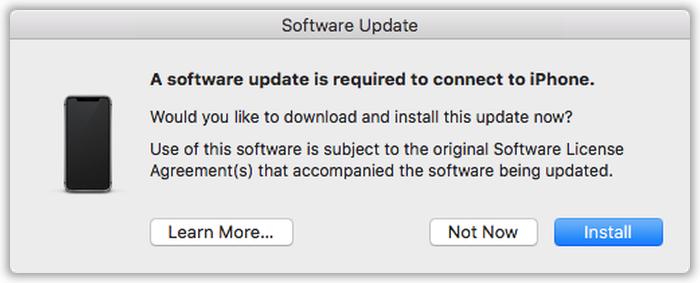 İPhone'a bağlanmak için bir yazılım güncellemesi gerekiyor