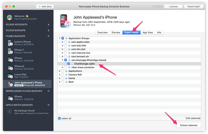 WhatsApp veritabanını iPhone Backup Extractor ile el ile açma