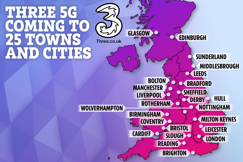 Toplam 25 İngiltere kasaba ve şehir, 2019'un sonuna kadar Three'nin 5G ağına erişebilecek