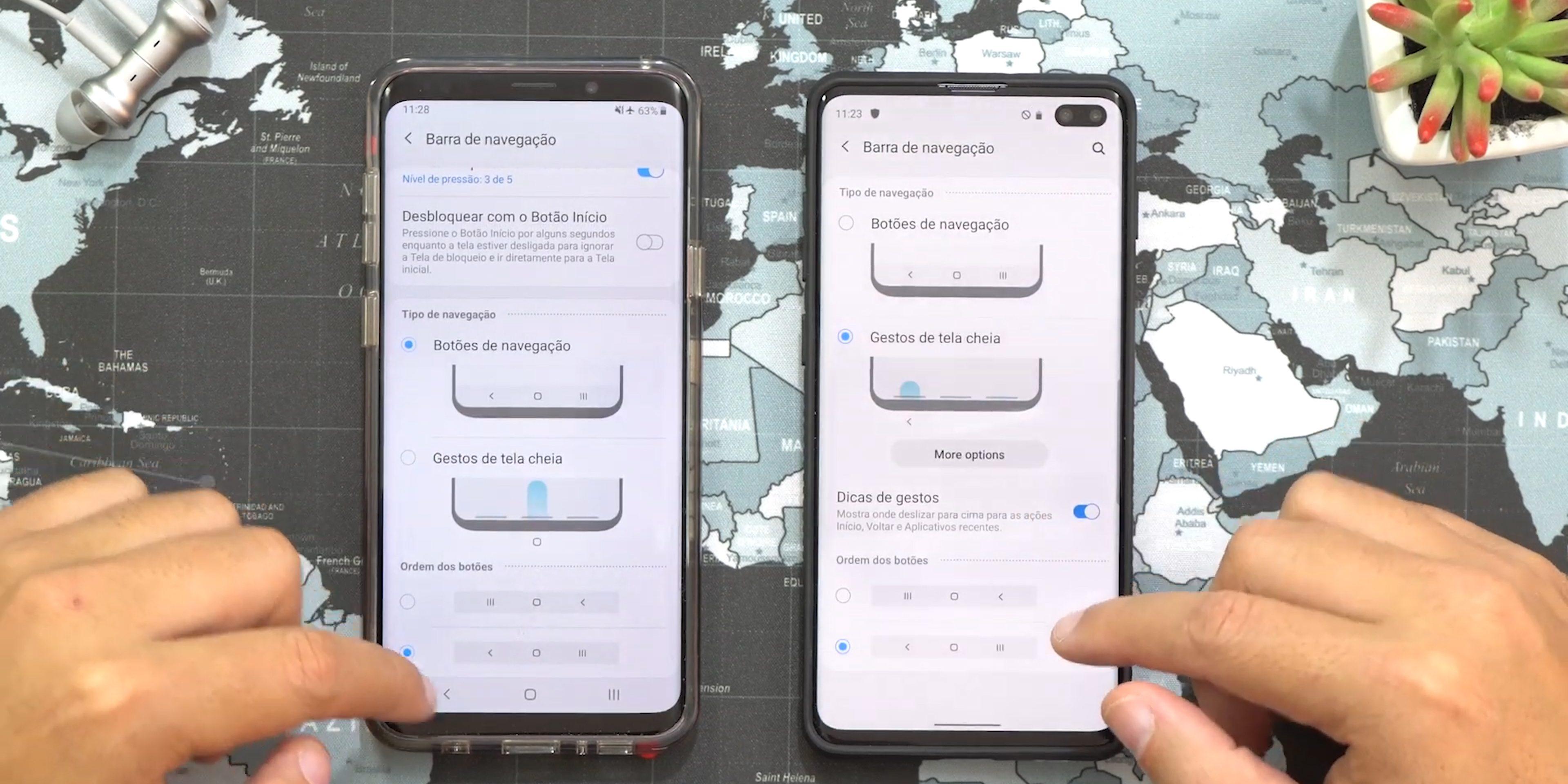 Bir kullanıcı arayüzü 2.0 Android 10 Samsung hareketleri Galaxy S10 +