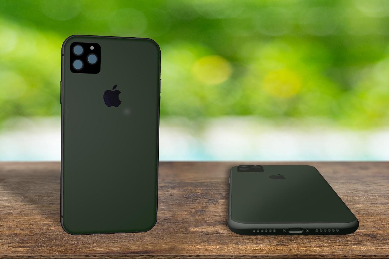 Yeni mat koyu yeşil iPhone'un nasıl görünebileceğinin Sun Online modeli