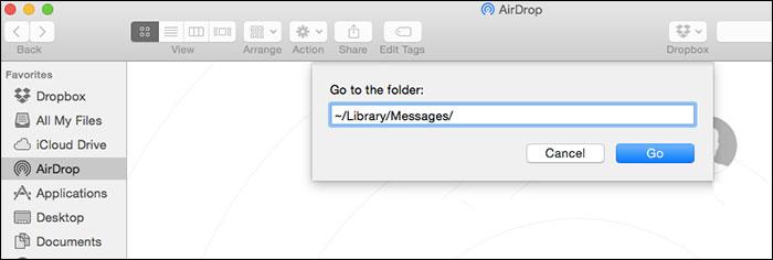 Mac OS X'te Folder Message Library'ye gidin