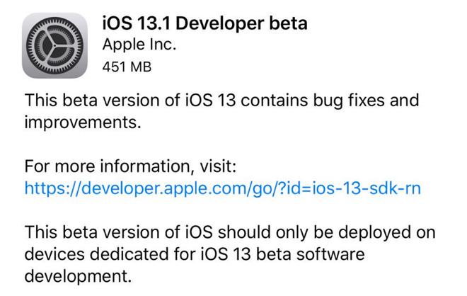 Apple  (garip bir şekilde) geliştiriciler için iOS 13.1 beta sürümü yayınlandı
