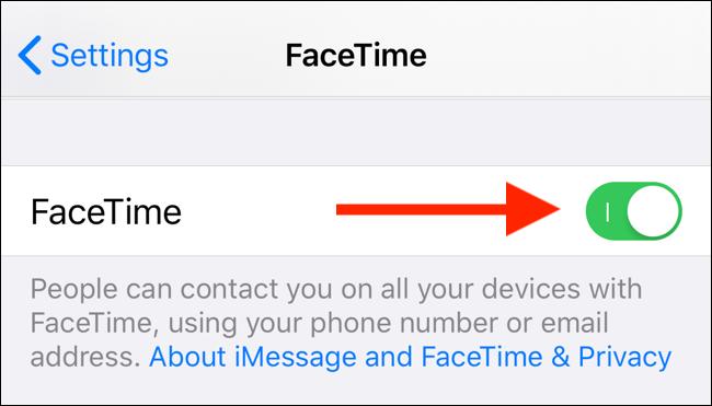 İPhone veya iPad'inizdeki FaceTime özelliğini devre dışı bırakmak için FaceTime geçişine dokunun