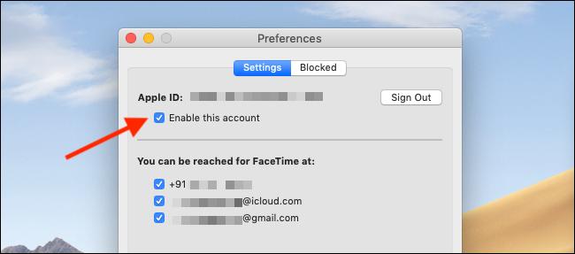Mac'te FaceTime'ı devre dışı bırakmak için FaceTime Tercihlerinde Bu Hesabı Etkinleştir düğmesinin işaretini kaldırın