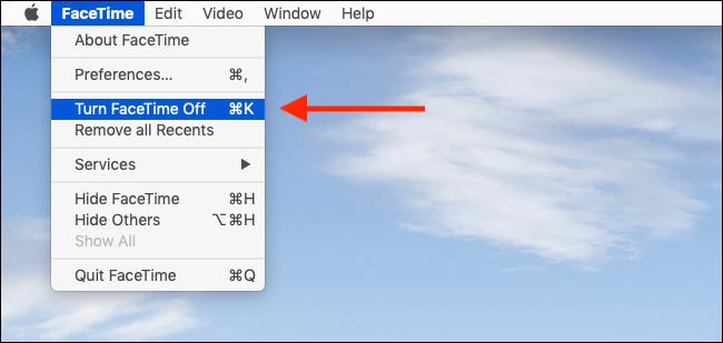 Mac'inizde FaceTime'ı hızlı bir şekilde devre dışı bırakmak için FaceTime'ı Menüden Kapat'ı tıklayın.