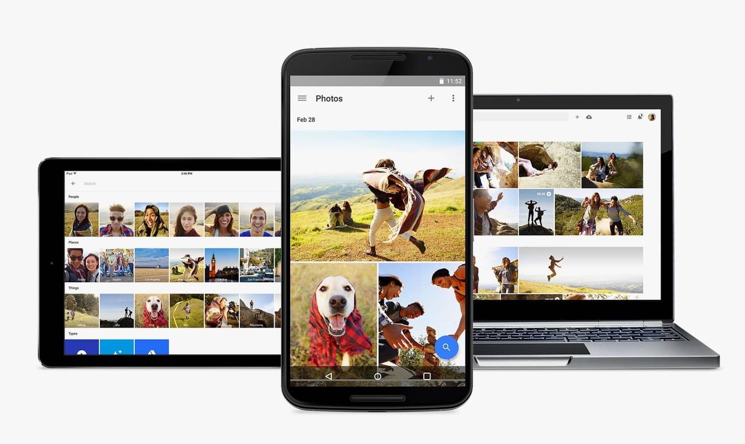 çeşitli cihazlarda google fotoğrafları