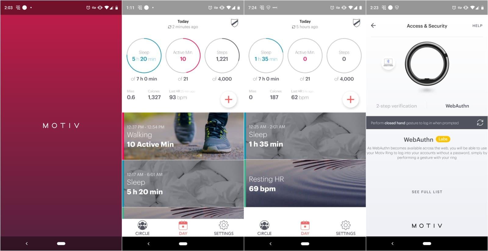 motiv fitness takip yüzüğü uygulaması ekran görüntüleri