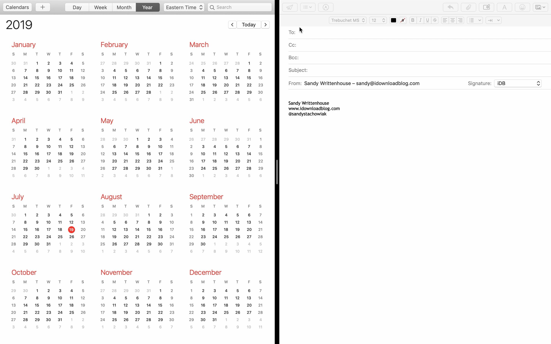 Mac View Email Takvim Böl