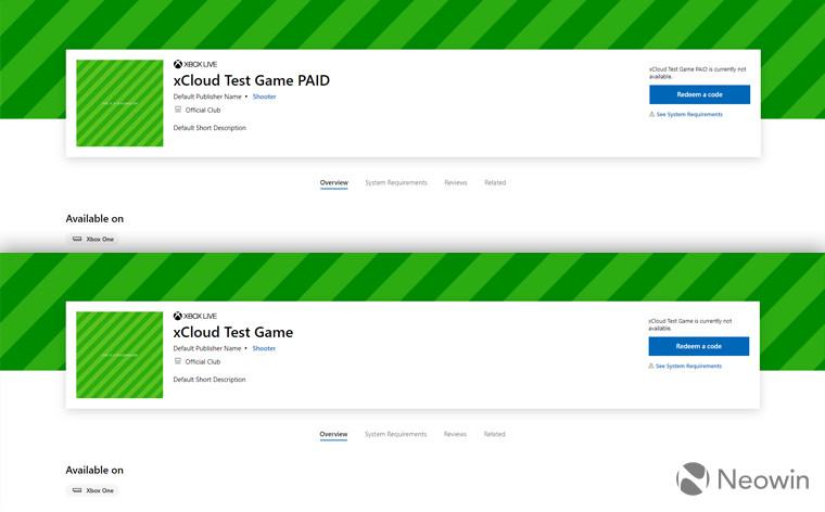Microsoft Mağazası'nda düzenli ve ücretli xCloud oyun yer tutucu listeleri görünüyor 1