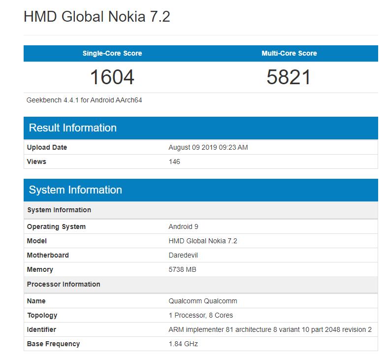 Nokia 7.2 Geekbench