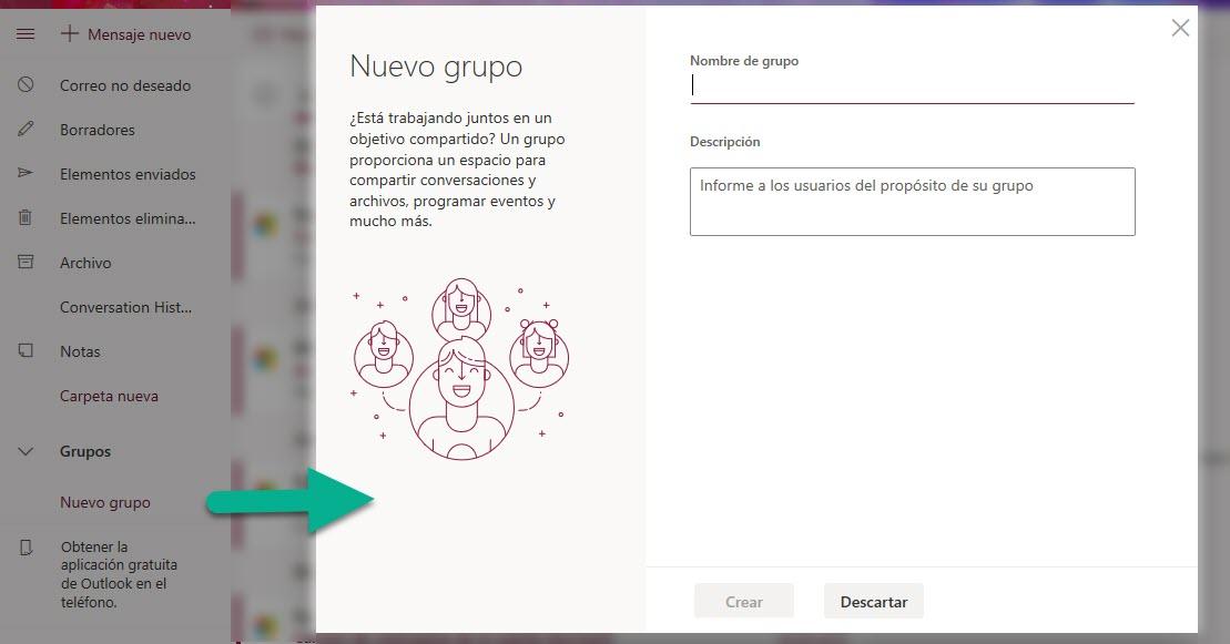 Outlook, mesajları, dosyaları ve olayları paylaşmak için gruplar oluşturmanıza olanak sağlar 1