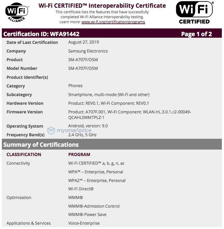 Samsung Galaxy A70s Wi-Fi İttifak Sertifikası Aldı 1