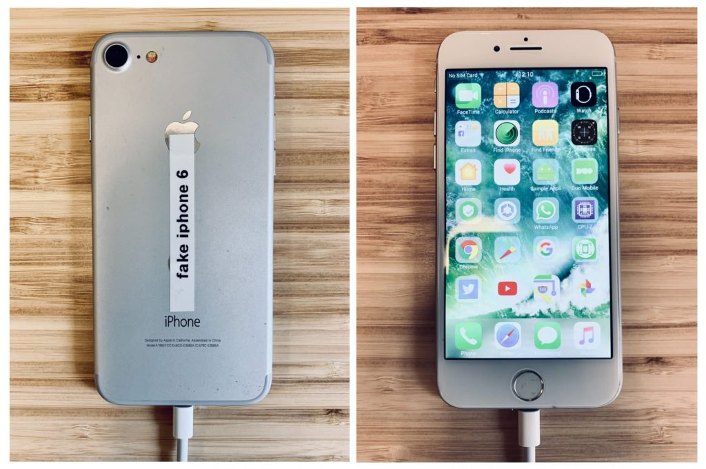 Sahte iPhone 6 orijinaline çok benziyor (Image: blog.trailofbits.com)