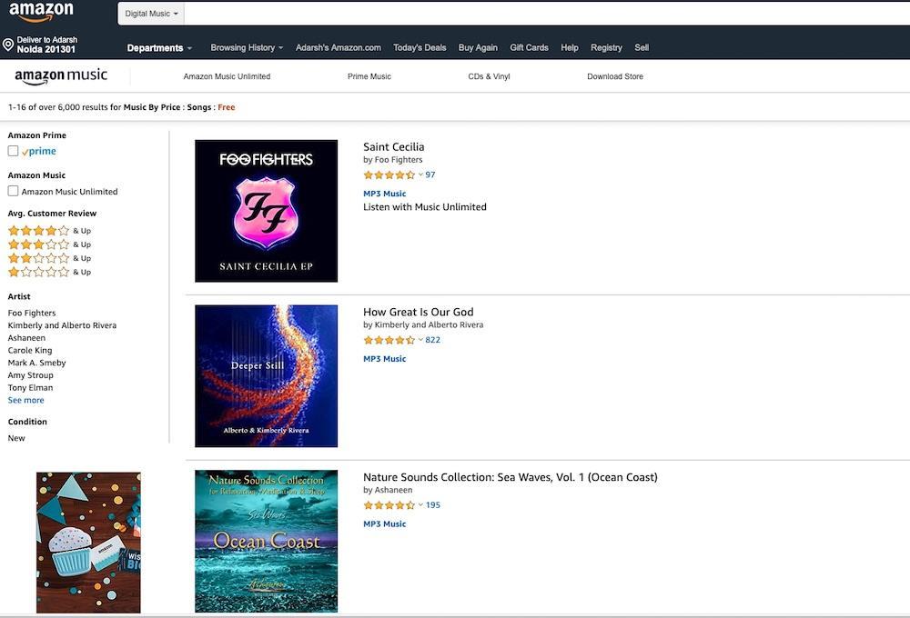 amazon web mağazasında ücretsiz müzik