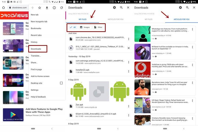Chrome yeni indirmeleri kullanıcı arayüzü