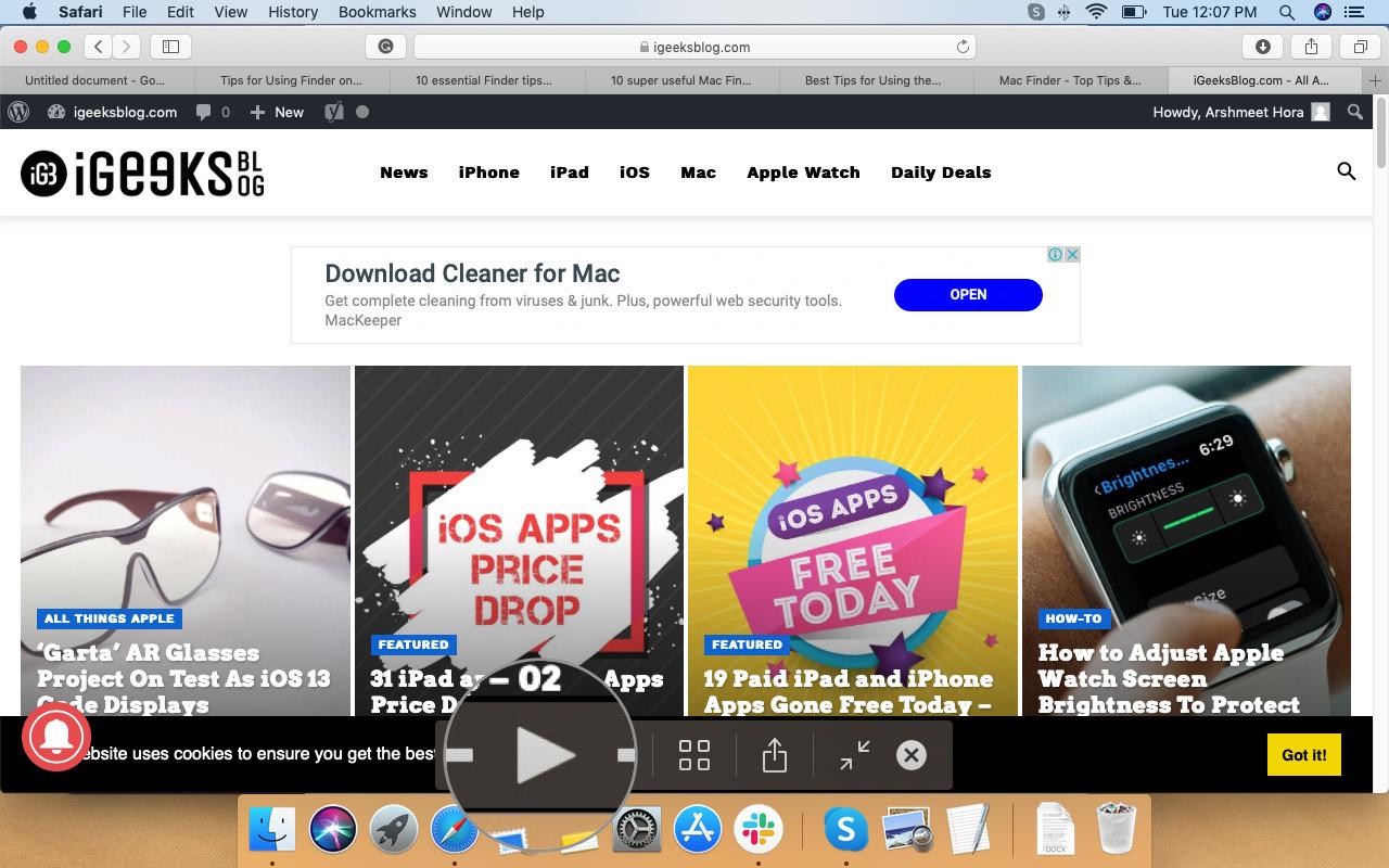 Mac Finder'da Hızlı Bakışta Slayt Gösterisini Başlatmak için Oynat'ı tıklayın