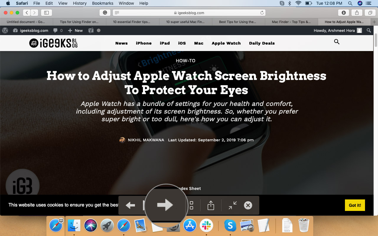 MacOS Finder'da Dosyaları Değiştirmek İçin Ok Üzerine Tıklayın