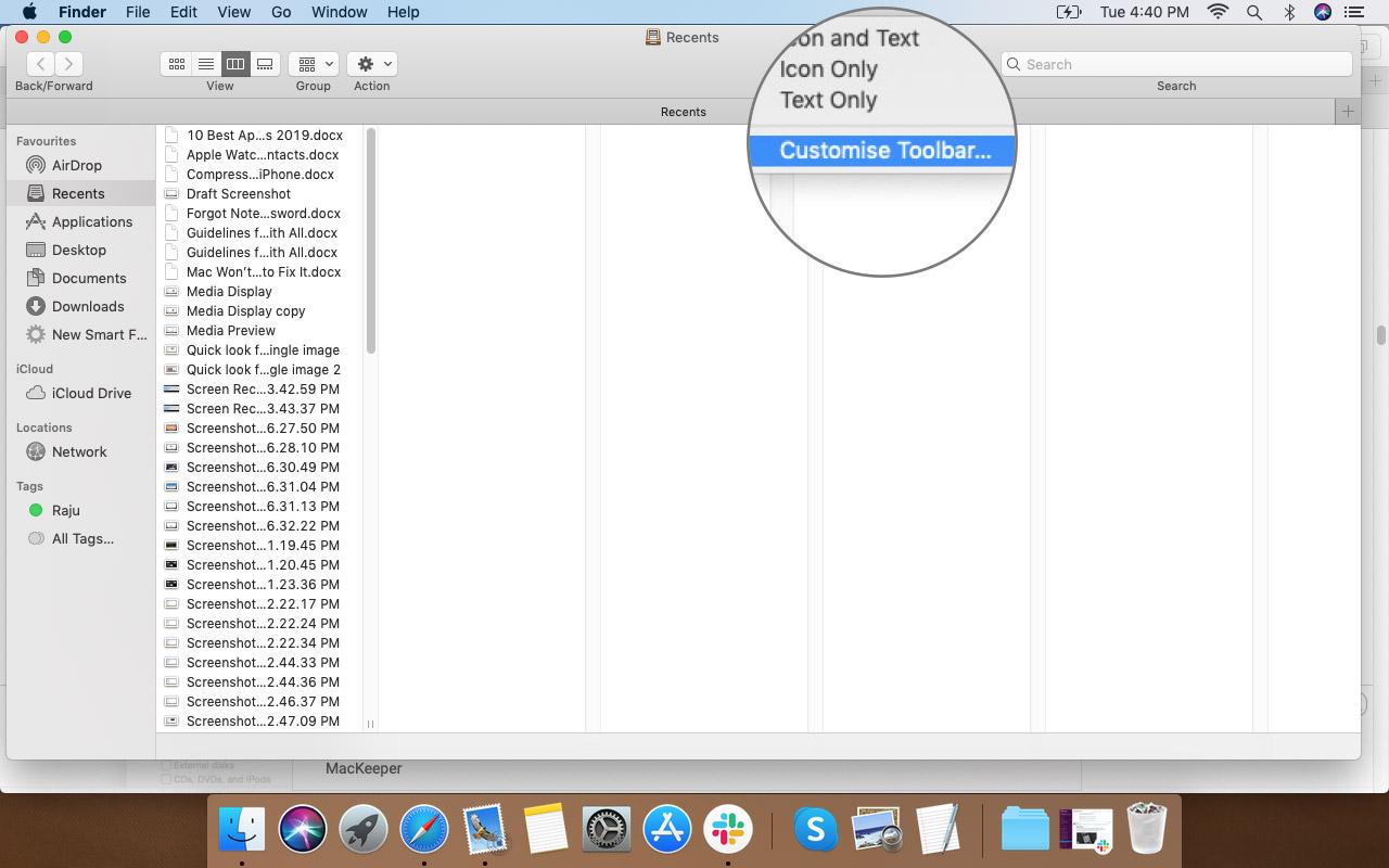 Finder Araç Çubuğuna Sağ Tıklayın ve Mac'te Özelleştir Seçeneğini Seçin