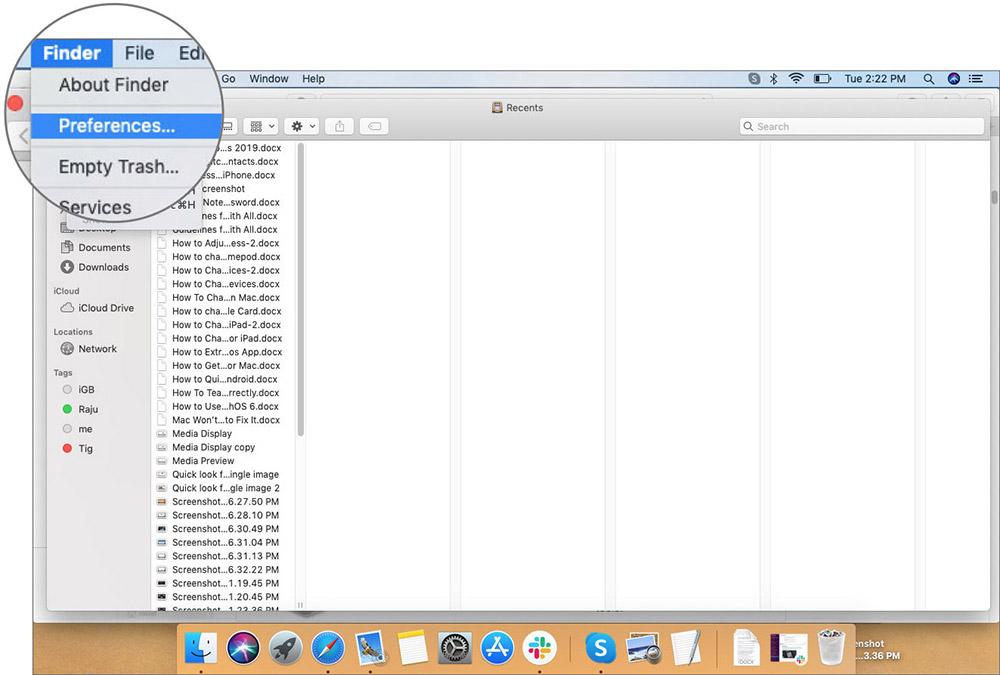 Mac'te Mac'teki Finder Menüsündeki Tercihler'e tıklayın
