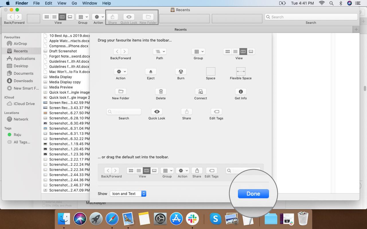 Mac'teki Finder Araç Çubuğunda Seçenekleri Kaydetmek İçin Bitti'yi tıklayın.