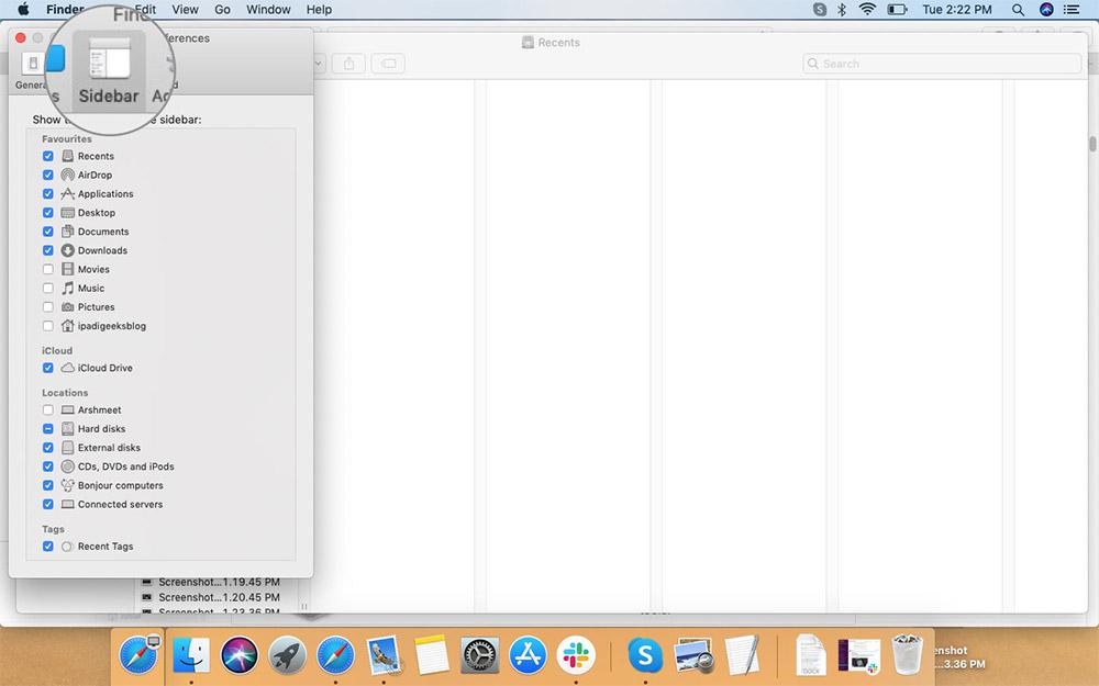 Mac'teki Finder Menüsündeki Tercihler'den Kenar Çubuğunu Seçin