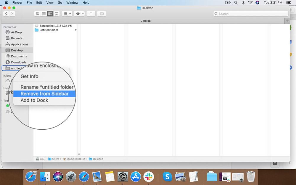 Mac'teki Finder Sidebar'dan Çıkarmak için Floder'lara Sağ Tıklayın