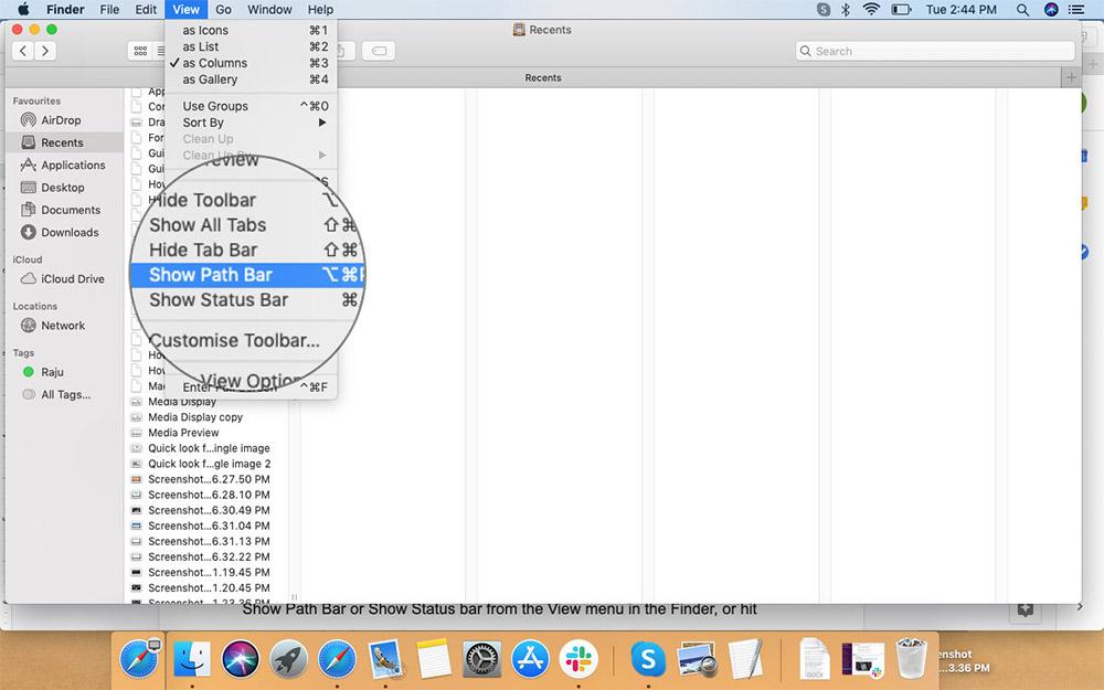 Mac'teki Finder Penceresine Yol Çubuğu Ekleme