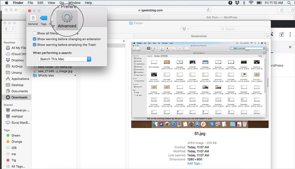 MacOS'ta Finder Tercihleri'nde Gelişmiş sekmesine tıklayın