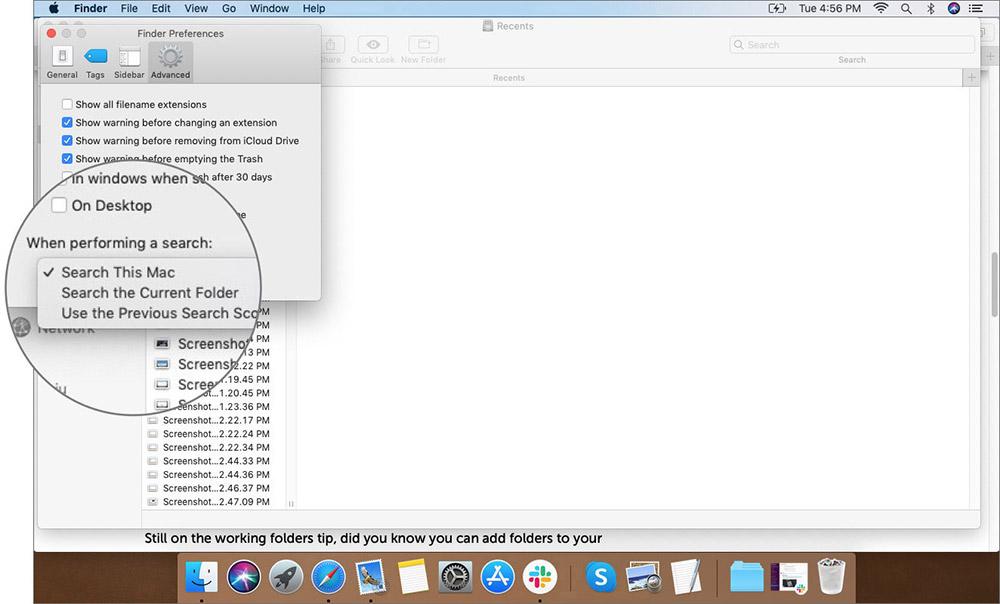 Mac Finder Tercihlerinde Advanced Sekmesinde Option'ı seçin.