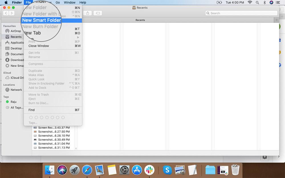 Mac'teki Finder File Menu'den Yeni Akıllı Klasör'ü seçin