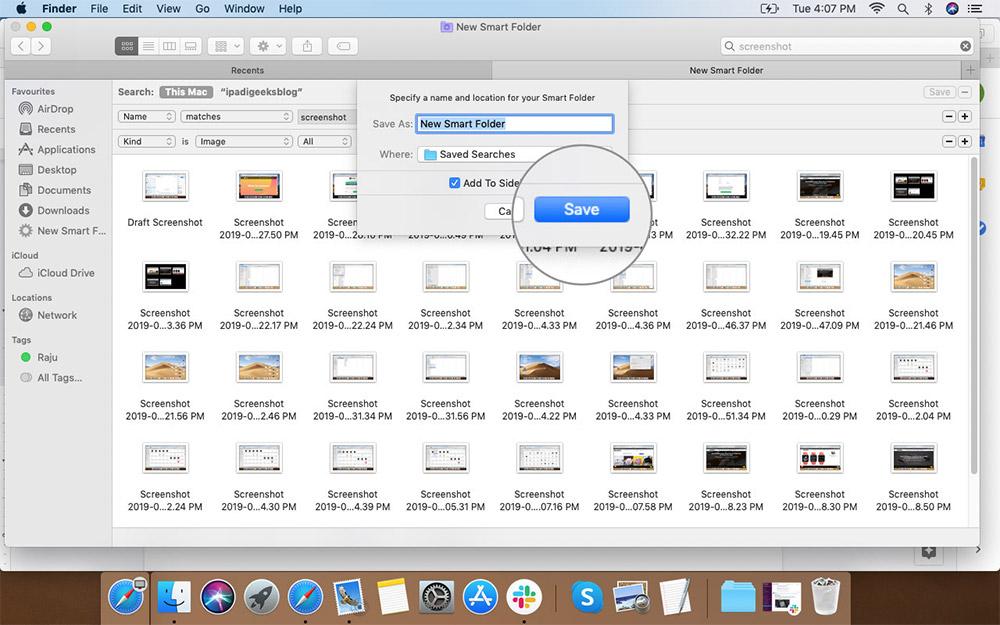 Mac'te Tercih Edilen Loation'da Akıllı Klasörü Yeniden Adlandırma ve Kaydetme