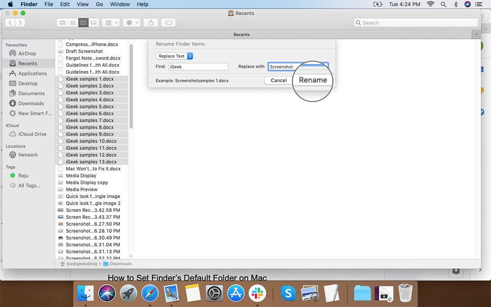 Mac'te Birden Çok Dosya Adını Değiştirmek İçin Yeniden Adlandır'ı tıklayın.