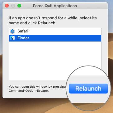 MacOS'ta Relauch Bulmak için Finder'ı seçin
