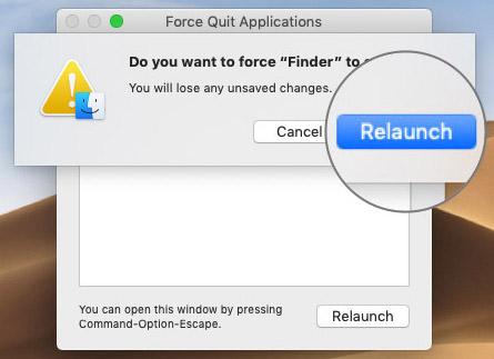 MacOS'ta Yeniden Başlatma Bulucusunu Onaylamak İçin Tıklayın