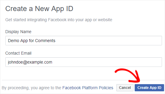 Yeni bir tane oluştur Facebook Uygulamanın