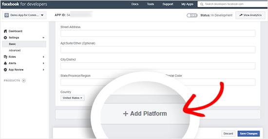 Facebook  uygulama platformu düğmesi