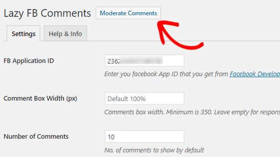 ılımlı Facebook Yorumlar seçeneği