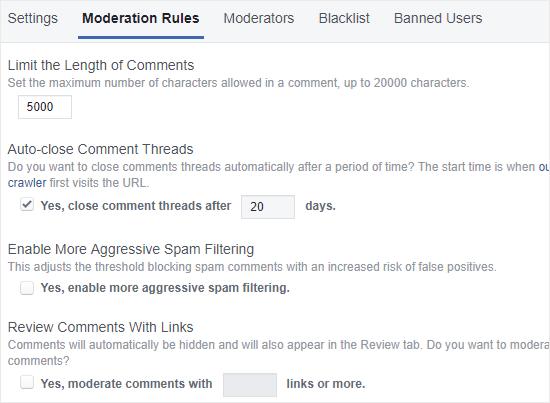 FB Yorumlar denetim kuralları