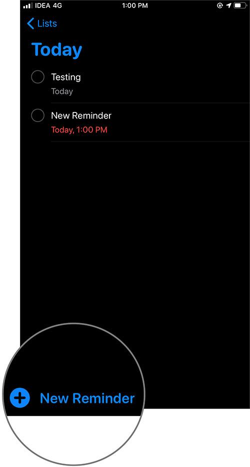 İPhone'da iOS 13 Yeni Hatırlatıcıya dokunun