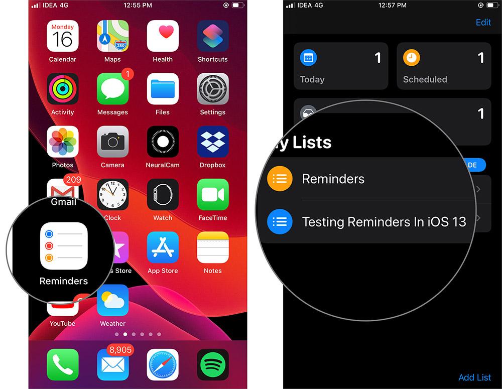 İPhone'da iOS 13 Hatırlatma Uygulamasında Liste Seçin